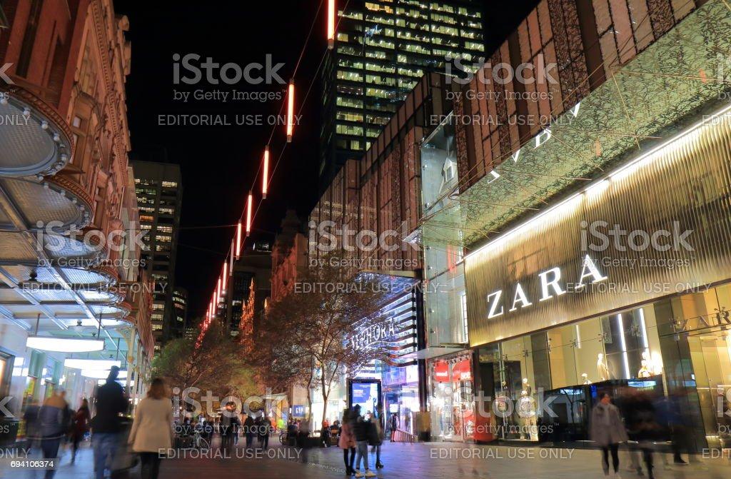 Shopping mall street cityscape Sydney Australia stock photo