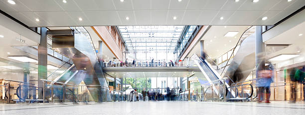 Shopping Mall with Crowd of Shoppers stock photo