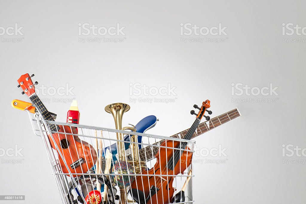 Shopping musical instruments stock photo