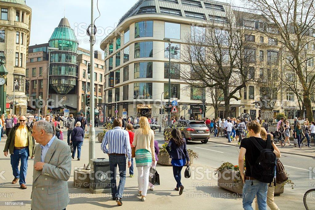 Shopping on Königsallee in Düsseldorf stock photo