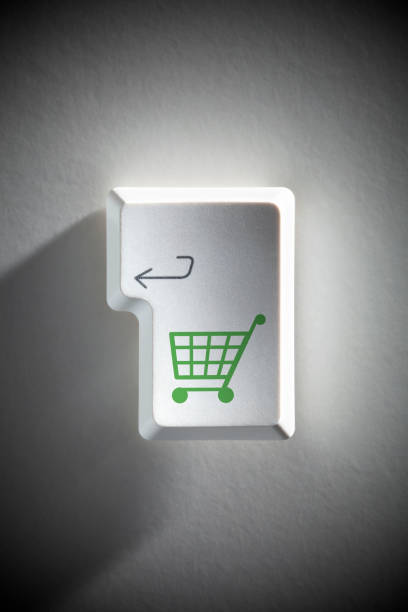 Shopping on line. Enter key with shopping cart. stock photo