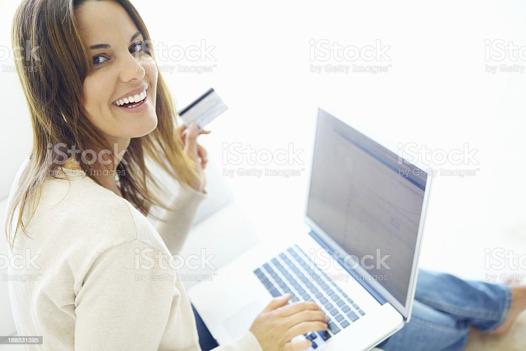 Shopping online at home royalty-free stock photo