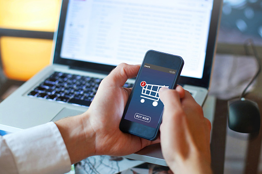 shopping online, buy in online shop by mobile smart phone app