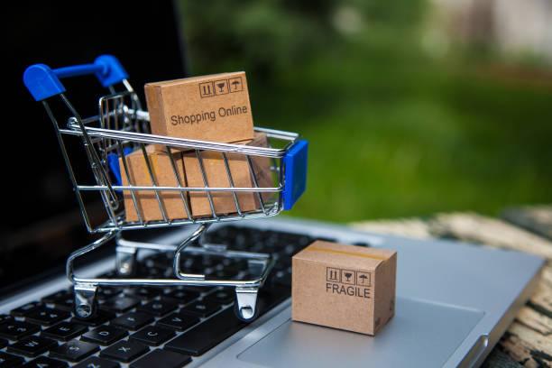 Shopping online (e-shop) stock photo