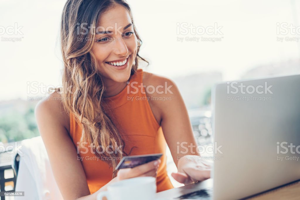 Shopping on-line stock photo