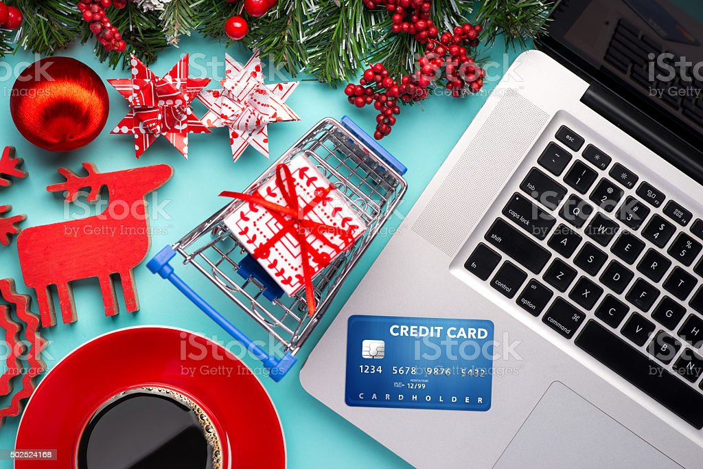 Shopping online with credit card stock photo