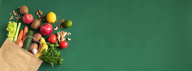Shopping or delivery fruits and vegetables stock photo