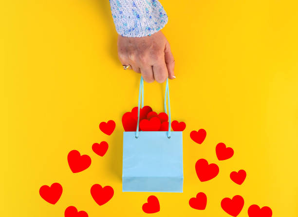 shopping or gift bag width hearts stock photo