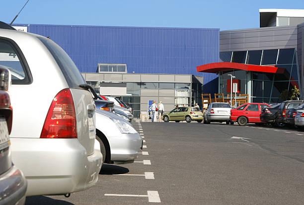 Shopping parking lot stock photo