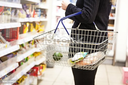Woman with shopping basket at a supermarket