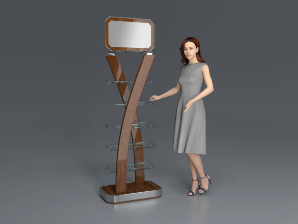 Shopping promo POS displays and girl. stock photo