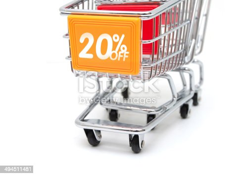Shopping Sale - 20% Discount isolated on white background