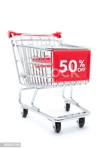 Shopping Sale - 50% Discount with Shopping Cart isolated on white background