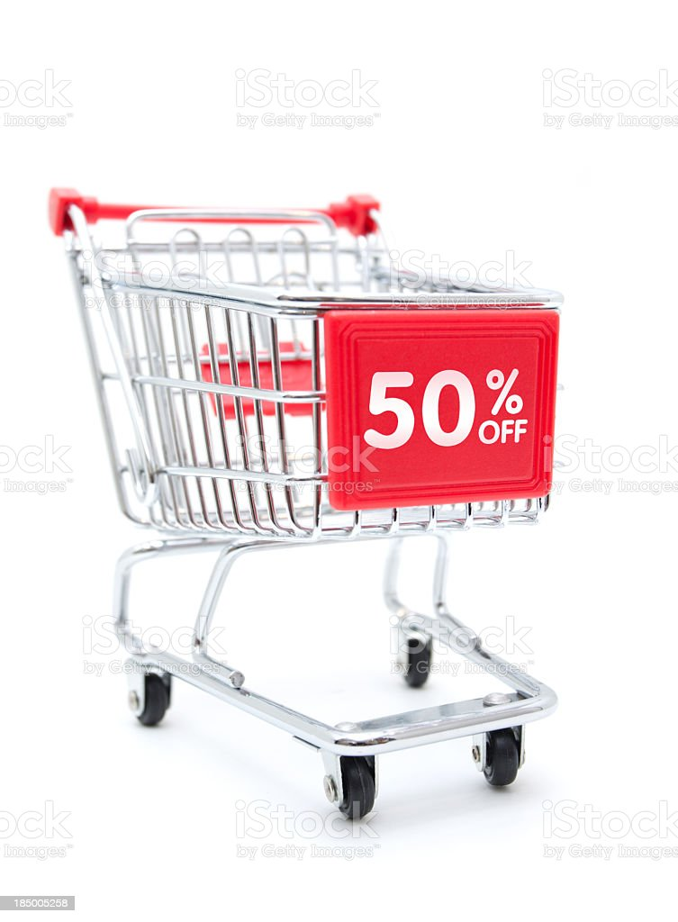 Shopping Sale - 50% Discount with Shopping Cart isolated on white stock photo