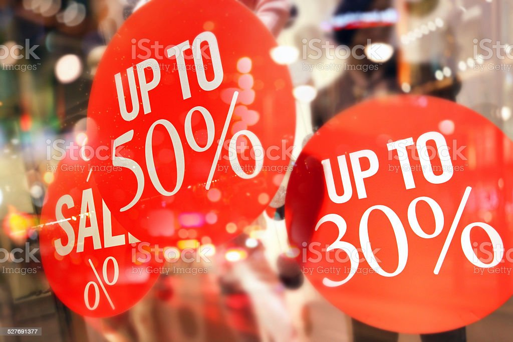 Shopping sales sign with percentage discount on price tag stock photo