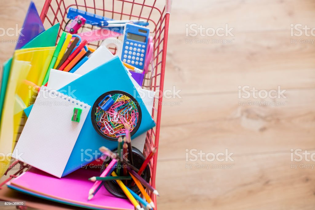 Shopping school supplies stock photo
