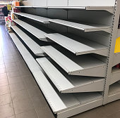 supermarket with empty shelves, empty shelf in grocery store