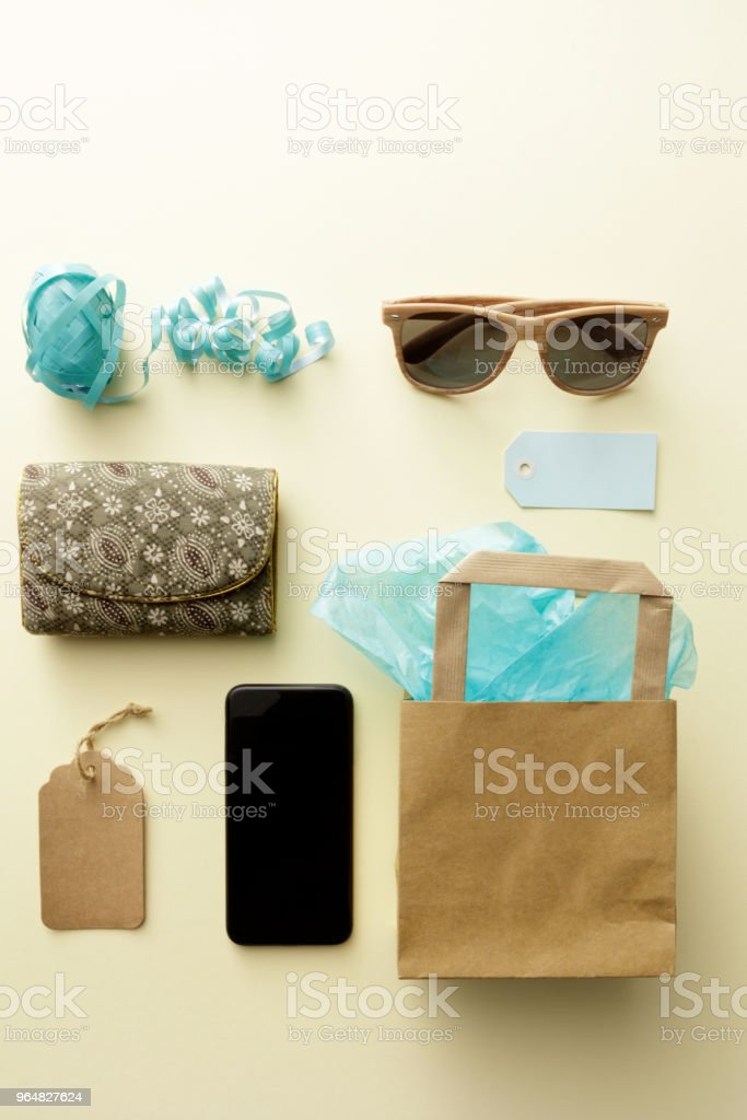 Shopping: Shopping Bag, Purse, Sunglasses and Smartphone Still Life royalty-free stock photo