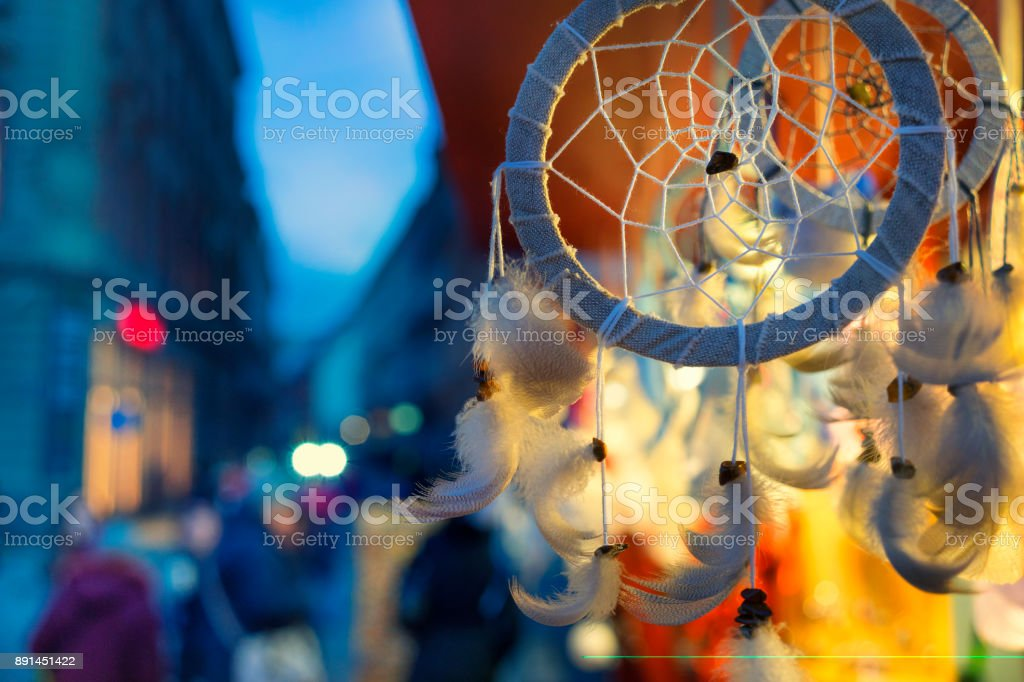 Shopping stall in the evening at the fair stock photo
