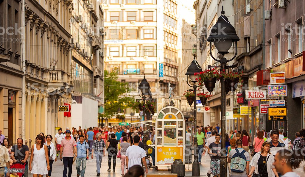 Shopping street Belgrade, Serbia stock photo