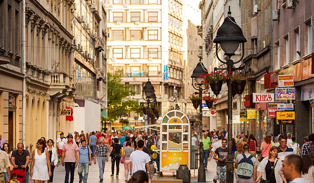 Shopping street Belgrade, Serbia Pedestrianised street with a crowd of people in the afternoon light in Belgrade city, Serbia belgrade serbia stock pictures, royalty-free photos & images