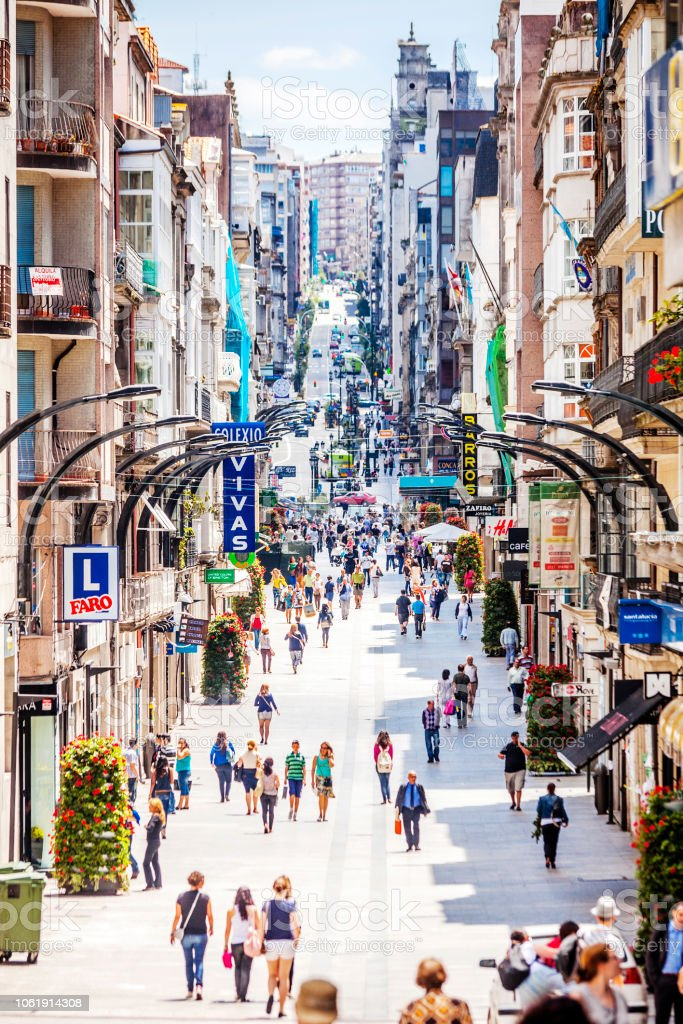 Shopping street crowd - Vigo, Spain stock photo
