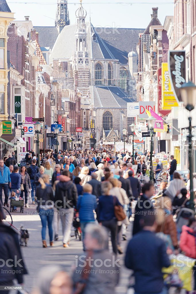 Shopping street crowds in Western Europe stock photo