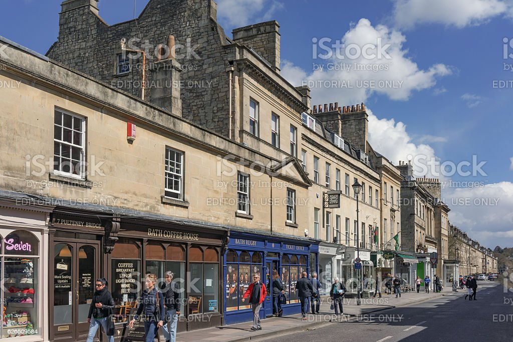 Shopping street in Bath, UK stock photo