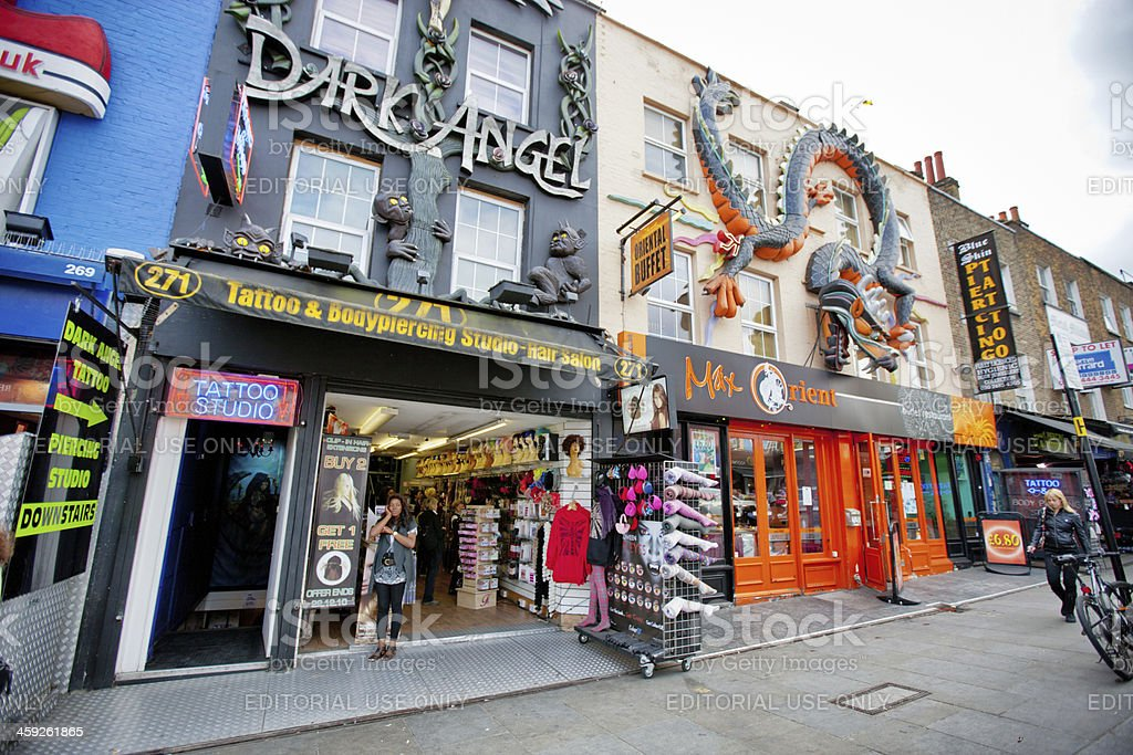 Shopping street in Camden Town, London stock photo