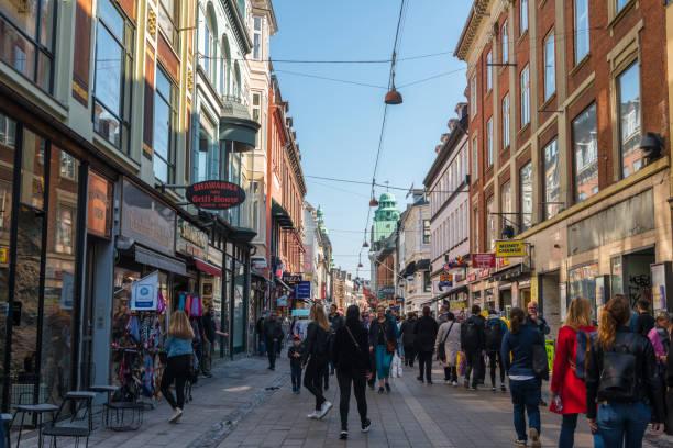 Shopping street in Copenhagen Denmark stock photo