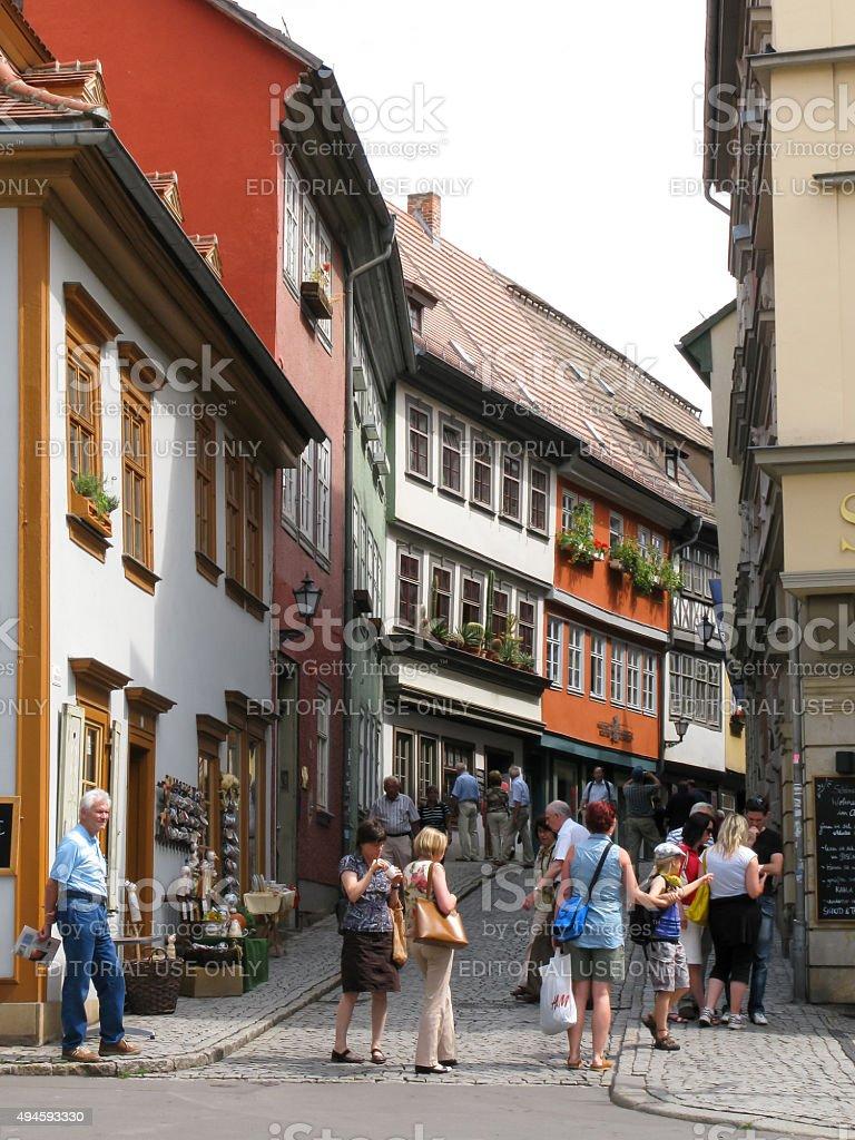 Shopping street in Erfurt, Germany stock photo