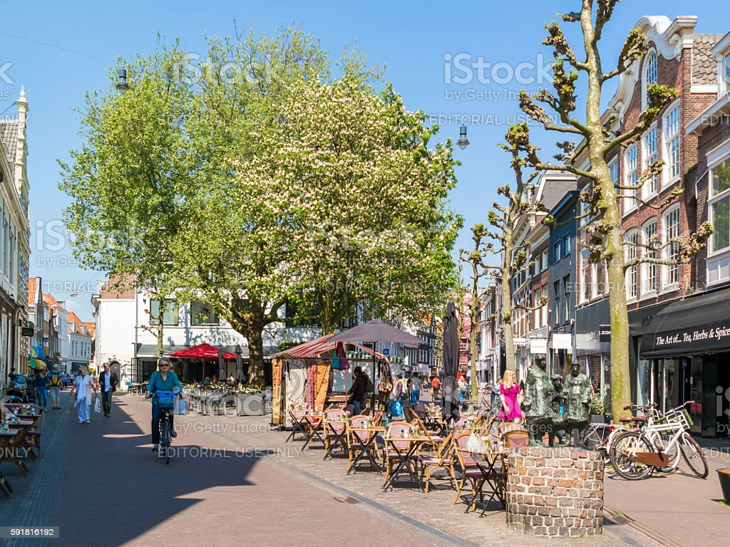 Shopping Street In Haarlem Netherlands Stock Photo