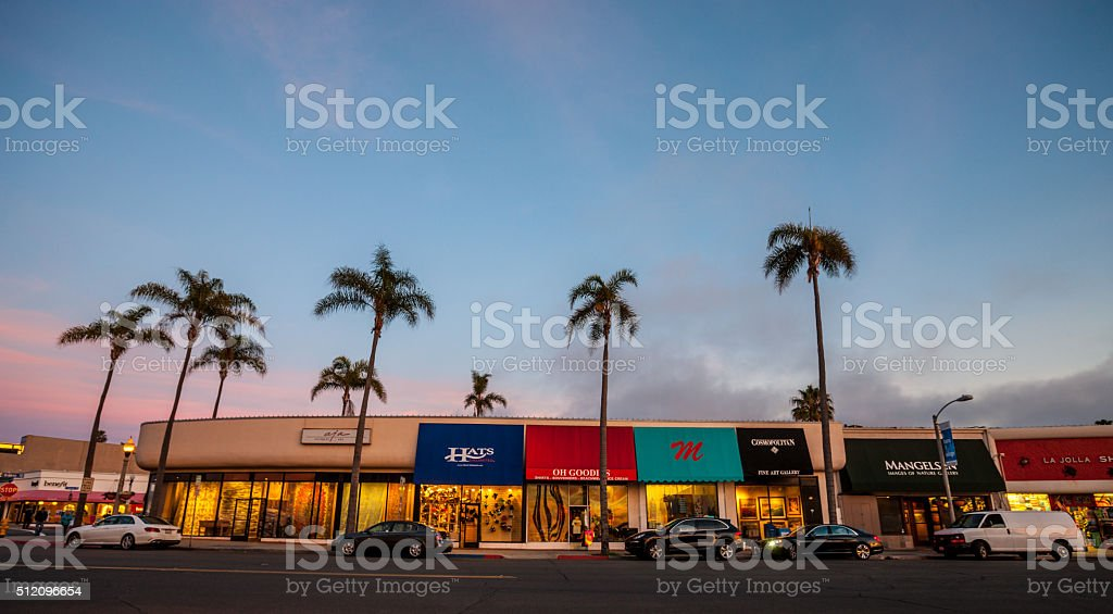 Shopping street in La Jolla, California, USA stock photo
