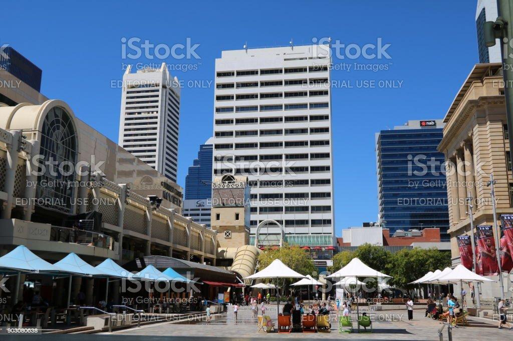 Shopping street in Perth city, Western Australia stock photo