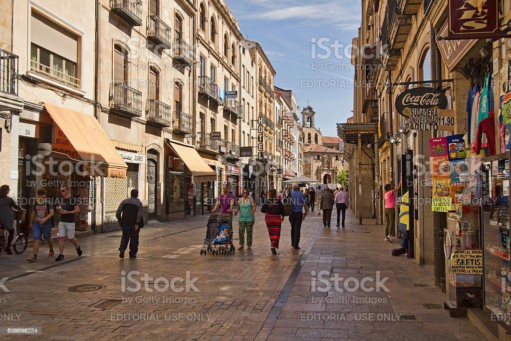 Shopping street in Salamanca, Spain stock photo