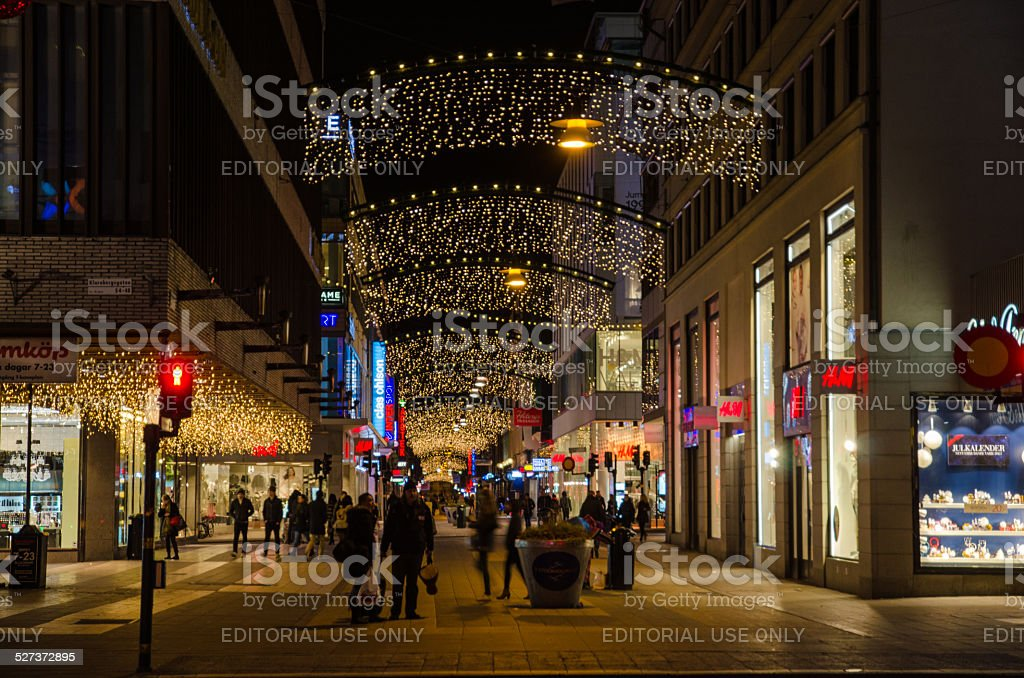 Shopping street in Stockholm by Christmas time stock photo
