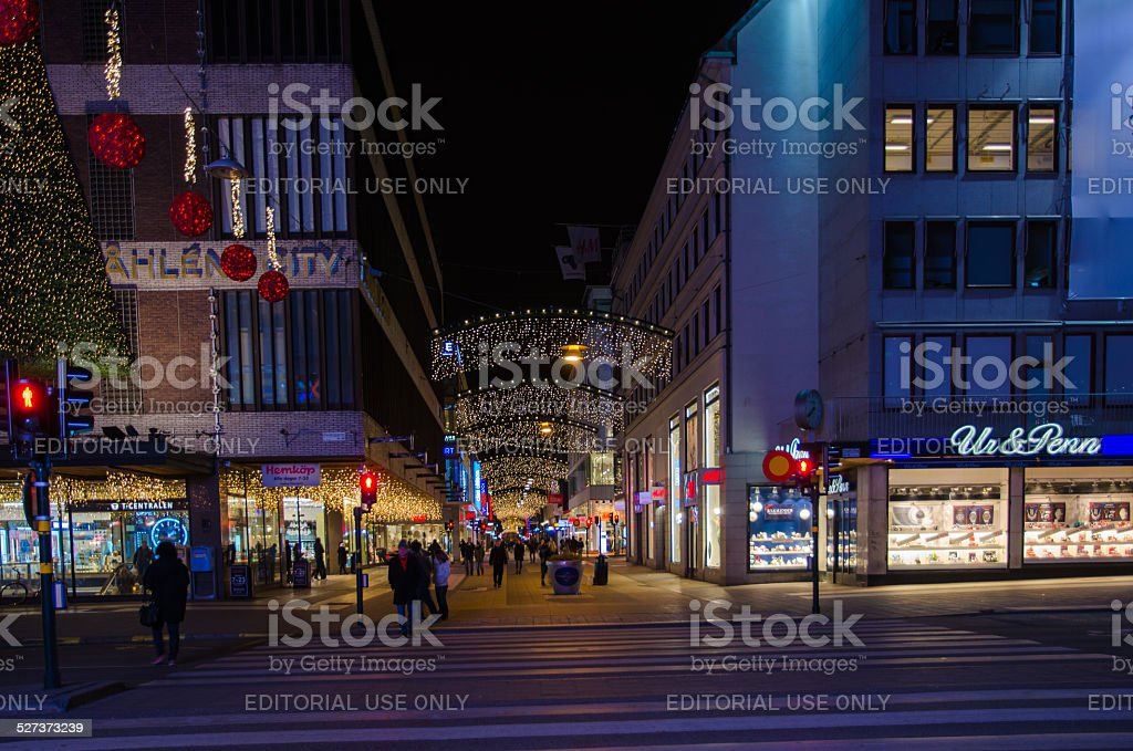 Shopping street in the center of Stockholm stock photo