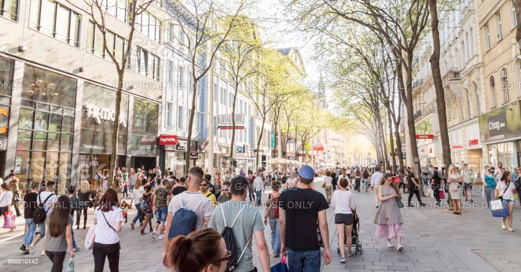 Shopping street in Vienna stock photo