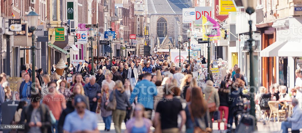 Shopping street in Western Europe stock photo