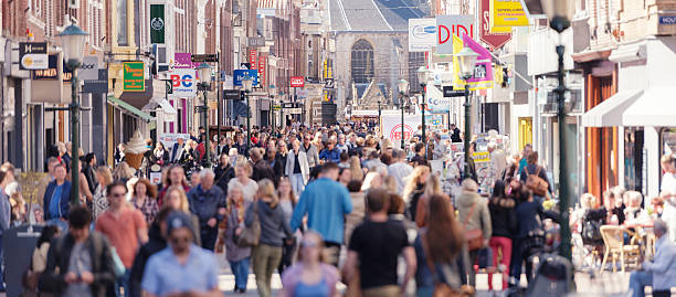 shopping street in western europe - netherlands stockfoto's en -beelden
