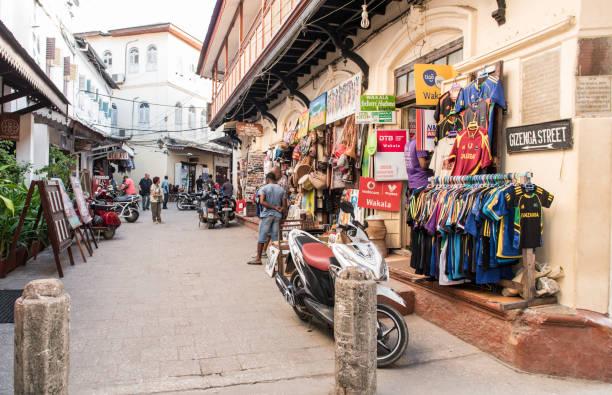Shopping street in Zanzibar stock photo