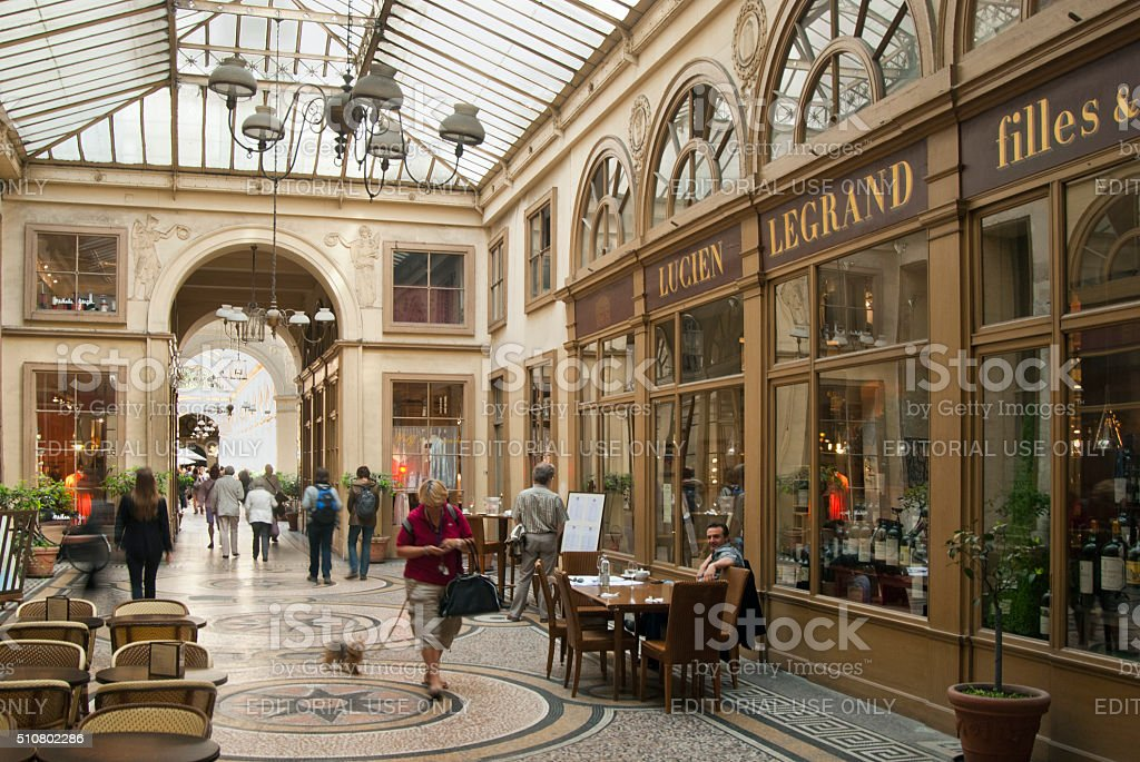 Shopping street under a glass roof stock photo