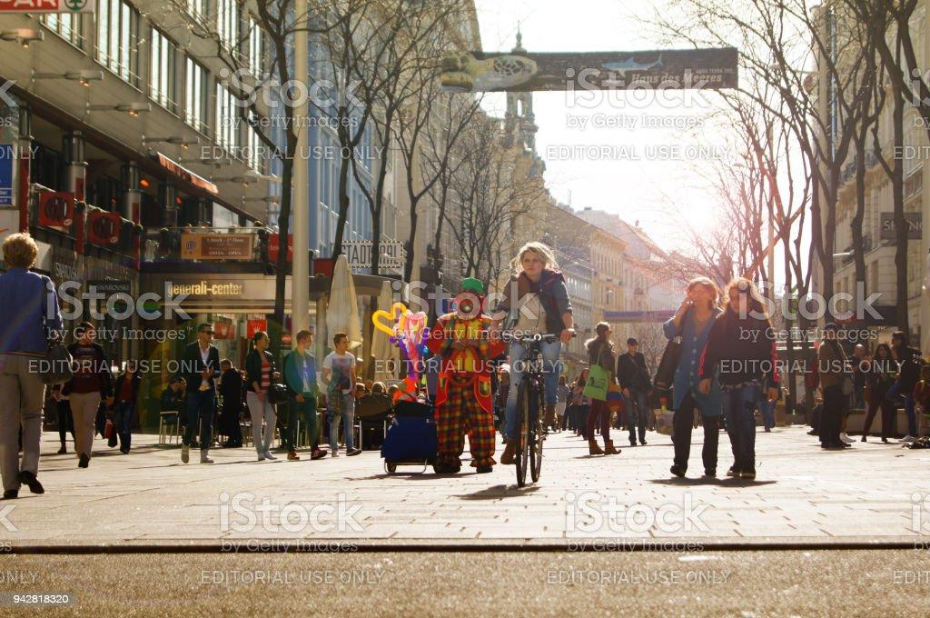 Shopping Street Vienna stock photo