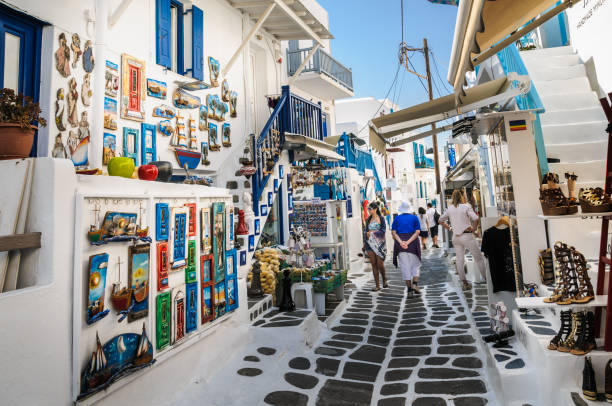 Shopping Streets of Mykonos stock photo