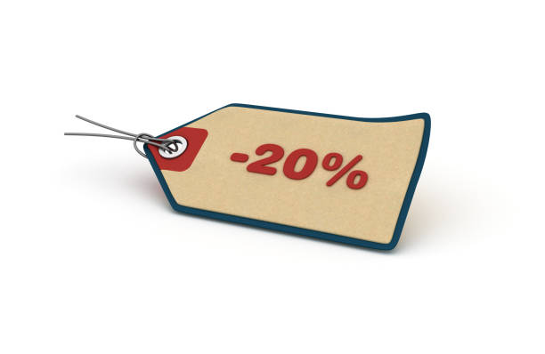 -20% Shopping Tag - 3D Rendering stock photo
