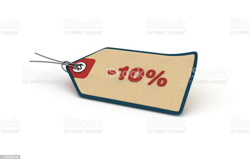 -10% Shopping Tag - 3D Rendering stock photo