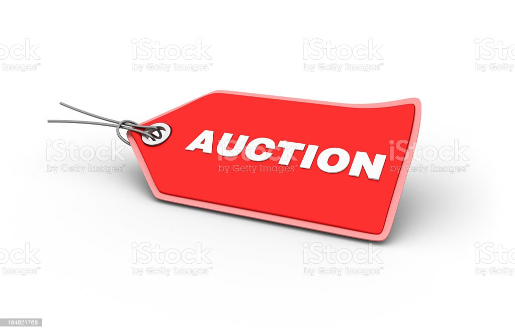 AUCTION Shopping Tag stock photo