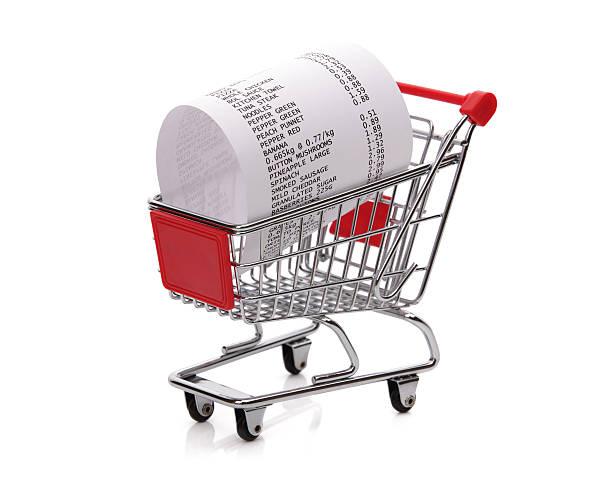 einkaufen bis eingang im einkaufswagen - gutschein ausdrucken stock-fotos und bilder