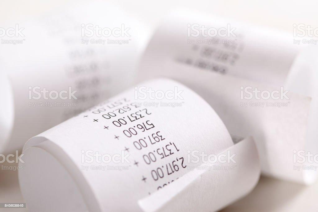 Shopping till receipt stock photo
