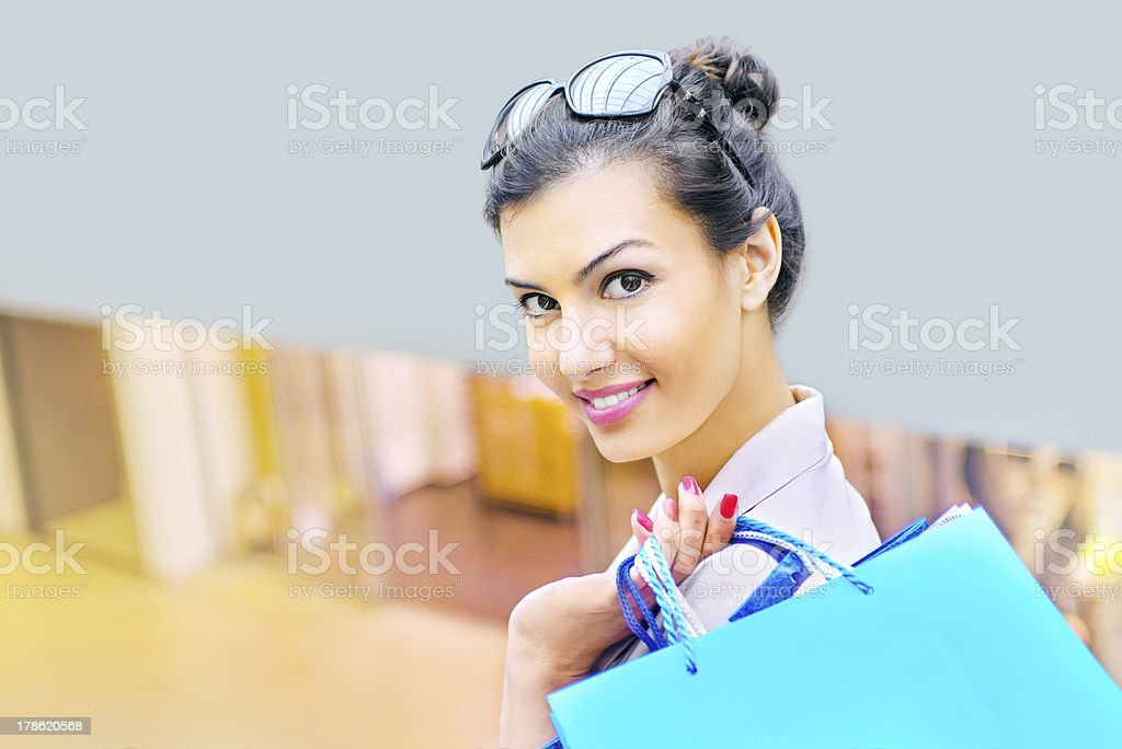 Shopping time, woman at mall royalty-free stock photo